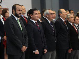 El Gobernador electo, Jorge Aristóteles Sandoval Díaz, en la presentación de su equipo de transición.